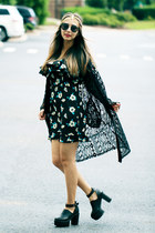 navy floral print YIGELILA dress - black younghungryfree boots
