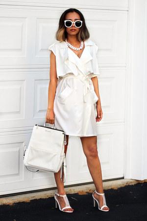 white Choies coat - white StyleMoi bag - white Choies sunglasses