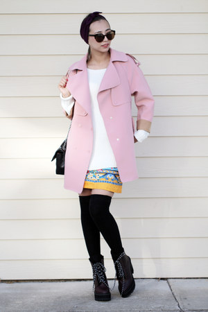 black Chanel bag - brick red Shellys London boots - bubble gum Chicwish coat