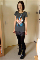 gray H&M t-shirt - black charity shop skirt - black Army Surplus Store boots - g