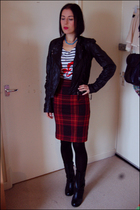 black new look jacket - red Lux skirt - white Topshop top - black Ebay boots