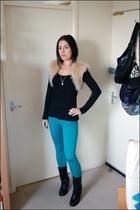 blue H&M jeans - black Primark top - beige Ebay cardigan - black Ebay boots - si