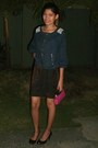 Black-black-shoes-navy-jacket-dark-brown-shirt-hot-pink-hot-pink-mini-bag