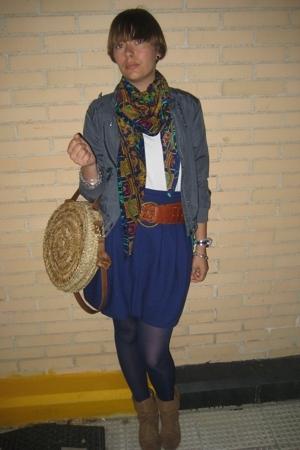 blue tulip Primark skirt - brown ankle Bershka boots - gray H&M jacket