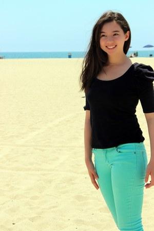 black Bershka blouse - aquamarine cotton on pants