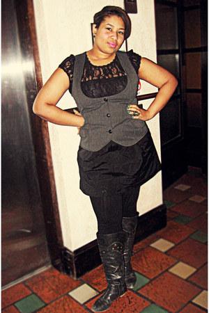 lace American Rag shirt - Old Navy vest - Gap skirt - Forever21 ring