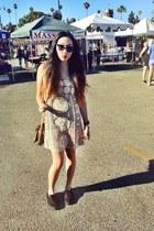 beige crochet mini dress - vintage Louis Vuitton purse