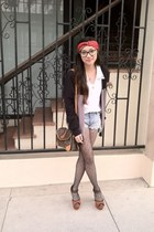 vintage Louis Vuitton purse - black Givenchy tights - blue cotton on shorts