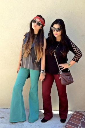 red vintage scarf - black Le specs sunglasses - teal Urban Outfitters pants