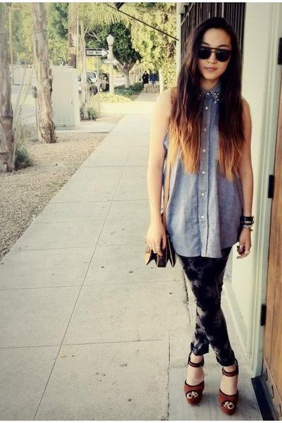 black bleached Forever 21 jeans - vintage Louis Vuitton purse