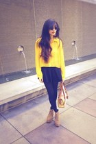 yellow polka dot xi blouse - Jeffrey Campbell boots - black Forever 21 tights