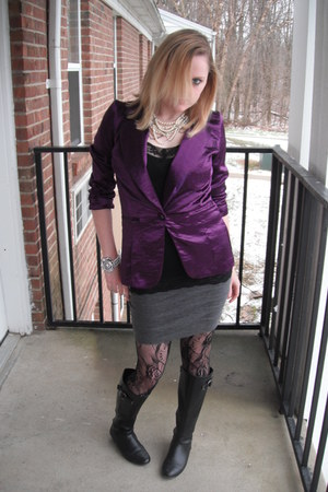 black American Eagle boots - deep purple stain Charlotte Russe blazer