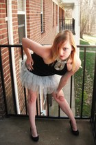 silver sparkle tutu Hot Topic skirt - black lace detail Charlotte Russe heels