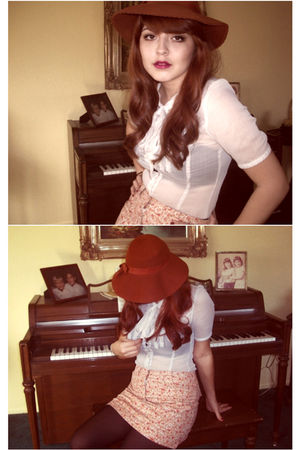 pink Express skirt - beige Target blouse - brown hat