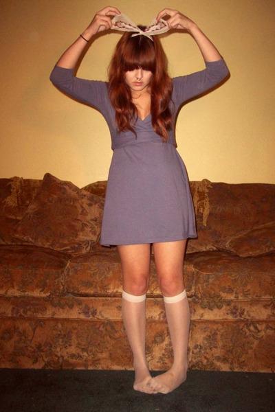 light purple thrifted dress - crimson thrifted accessories