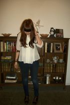 beige thrifted blouse - blue thrifted jeans - brown Target shoes