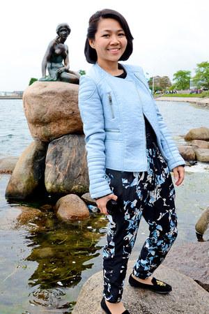 light blue Zara jacket - black prints Topshop pants