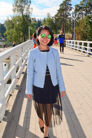 black sheer Topshop skirt - light blue Zara jacket