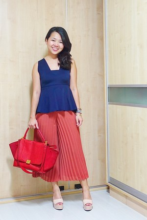 red Celine bag - salmon culottes Topshop pants - navy peplum Zara top
