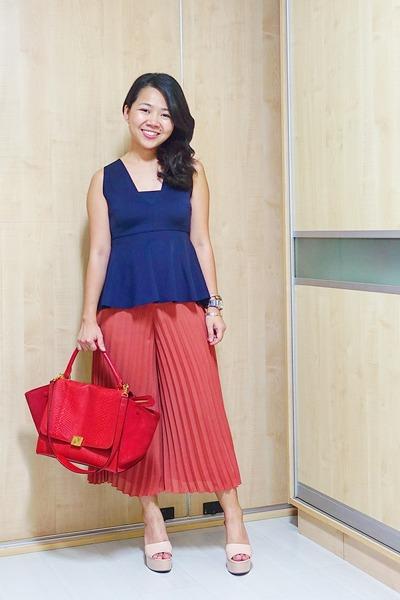 red Celine bag - salmon culottes Topshop pants - navy peplum Zara top