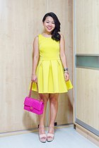 silver Charriol bracelet - yellow skater asos dress - hot pink Chanel bag
