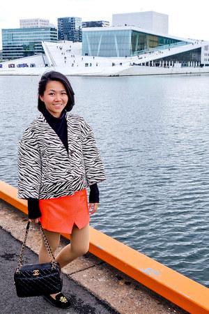 black Chanel bag - white Zara coat - carrot orange skort Topshop skirt