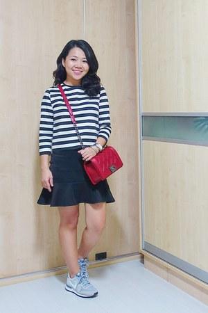 red Chanel bag - heather gray nike sneakers - silver Charriol bracelet