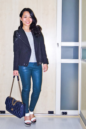 navy Chanel bag - black motorcycle Zara jacket - white Zara wedges
