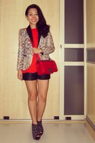 leather Topshop shorts - snake print Zara jacket - red boy bag Chanel bag
