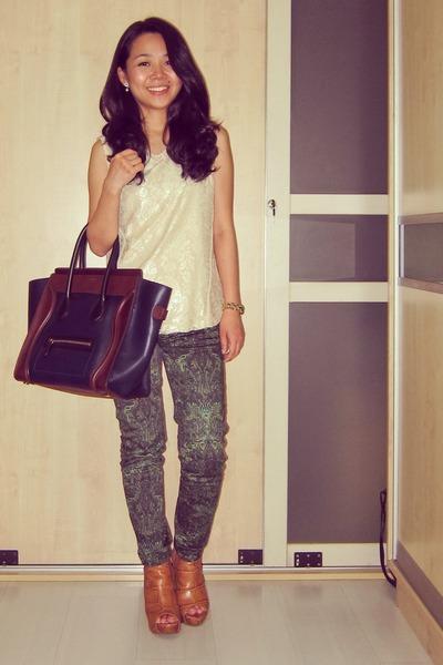 lace Zara top - bronze peep toe Jeffrey Campbell boots