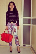 black lace H&M top - red Celine bag - hot pink printed H&M pants