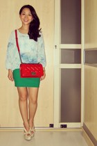 ruby red boy bag Chanel bag - green bodycon Topshop skirt