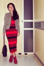 stripes FCUK dress - amry Zara jacket - perfect edge Chanel bag