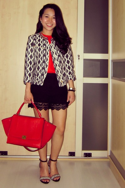 red Celine bag - black tweed Mango jacket - black lace Zara shorts