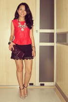 red peplum Topshop top - Louis Vuitton purse - black lace Zara shorts