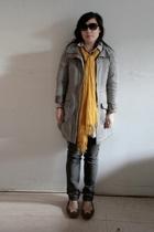 H&M coat - Cheap Monday jeans - Marc by Marc Jacobs shoes - H&M scarf - H&M blou