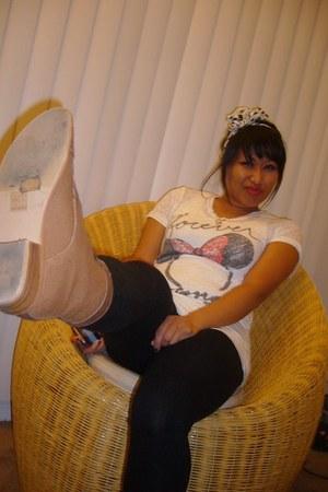boots - leggings - white Delias shirt - accessories