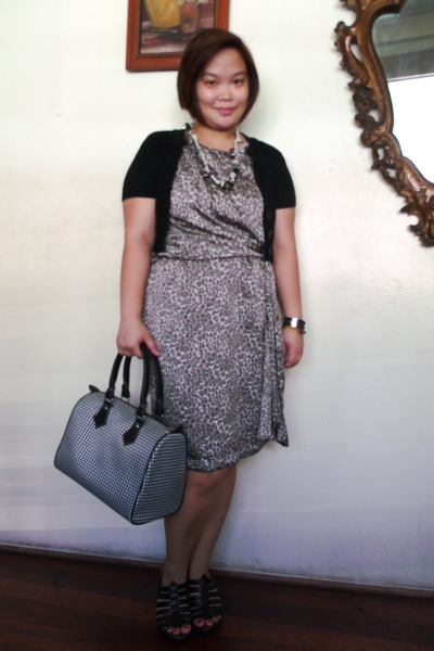 black houndstooth bag - heather gray Philosophy  SM dress - black cardigan