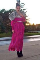 hot pink vintage dress - silver vintage fur vest - black bakers shoes wedges