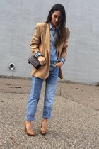 blue Tommy Hilfiger jeans - camel thrifted vintage blazer