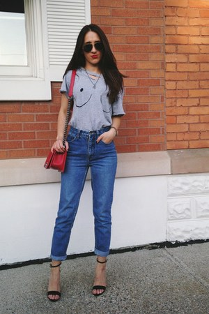 navy thrifted vintage jeans - red Chanel bag - dark gray Ray Ban sunglasses