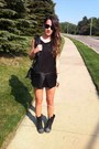 Black-target-boots-gray-vera-wang-dress-vintage-hermes-bag
