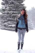 black Hunter Boots boots - blue vintage cross vest - white Forever21 t-shirt