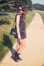 Black-target-boots-gray-vera-wang-dress-vintage-hermes-bag