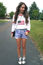 white thrift sweater - black chanel vintage purse - blue thrifted vintage shorts