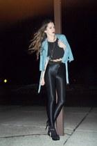 black Bakers shoes - blue American Eagle jacket - black American Apparel legging
