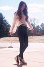 Black-thrift-shoes-black-american-apperal-leggings-ivory-vintage-blouse-wh
