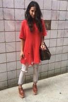 beige Gap jeans - dark brown Louis Vuitton bag - red thrifted vintage sweatshirt