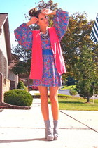 hot pink vintage blazer - violet vintage dress - heather gray Aldo pumps