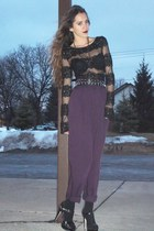 black Bakers shoes - black Forever21 blouse - amethyst vintage pants